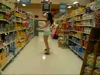Good looking girl at the supermarket wearing no panties flahes her tits and slit in public and shows all totally naked at home. Excellent body on this hot looking chick.