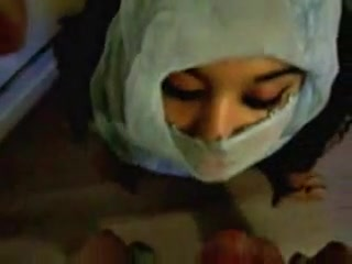 Submissive Arab chick gets facial.