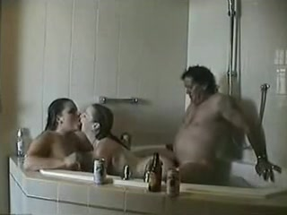 Incredible scene with a hot threesome in baths