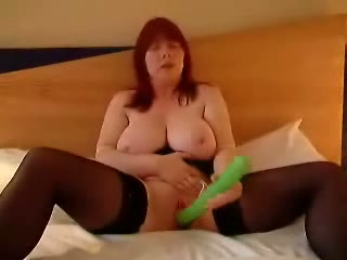 Chubby beauty got the huge dildo in her town; she locked in the bedroom to take on camera how this giant green dick intrudes her killingly.