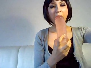 German Bitch Thick fake penis in her mouth almost puked