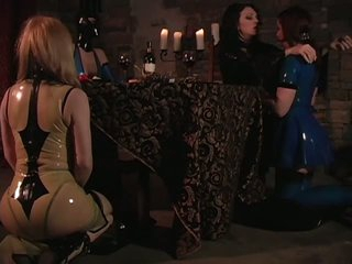 Female-dominator Jean Enjoys Latex Clad Slaves