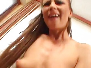 Tight wazoo brunette with perky boobies riding on cock with her bald pussy