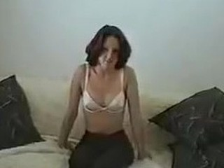 Hot brunette spliced amateur strip tape