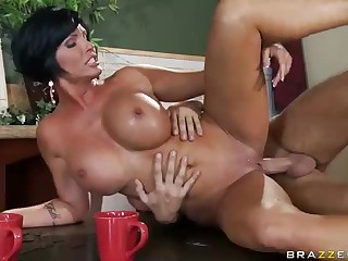 Who ca resist a milf like this? Milfy good looker Shay Fox with ideal huge boobies is plow hungry. Topless Shay Fox gets face fucked on her knees before deep pussy penetration.