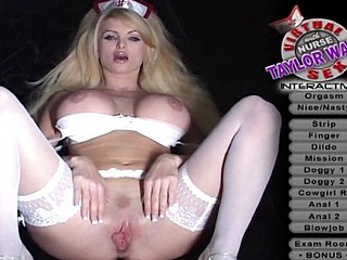 Busty Nurse Taylor Wane lies back to get her cunt fingered