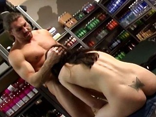 Brunette trades head and then gets banged in both holes in a store