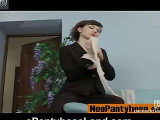 Crestfallen stockist flashes her nylon waistband before putting exceeding recent tights