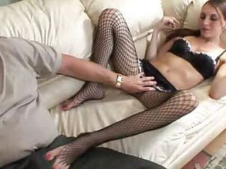 Stocking Playgirl Acquires Her Toes Licked