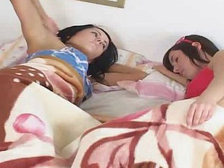 Eighteen year age-old teenie Chris plus Victoria are kissing after waking up
