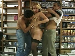 Skinny librarian floosie gets banged and spanked by two chaps