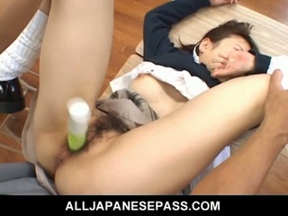 Japanese legal age teenager receives queasy pussy toyed up ahead sucking cock