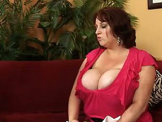 Amazing Biggest Tits On Sexually excited Redhead BBW