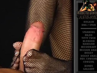 Hot Latina babe Alexis Amore gives a footjob with her feet connected with fishnets