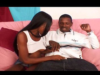 Ebony blows him to get hard plus then rides on his stiff ramrod
