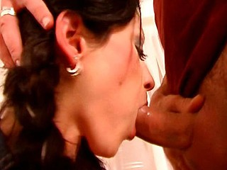 Cute breasty brunette hair takes turns slurping on his cock or riding it