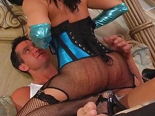 sexy busty brunette in lingerie trades head and gets ass fucked with a creampie