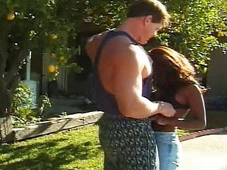 Swarthy femme fatale and a brawny male do some outdoor poolside screwing