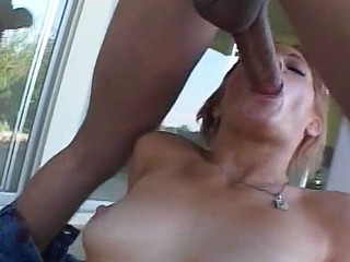 Blonde enjoys cock in her mouth, and her cookie and booty and acquires jizz fountain