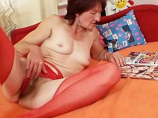 Unattractive granny Matylda spreads and toys hairy pussy
