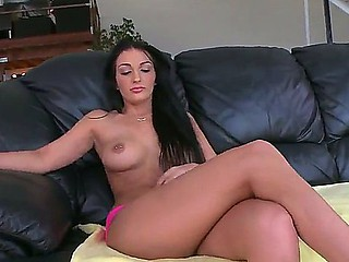 Superb playgirl with darksome hair and a wonderful pussy Amber Cox pleases with a hawt solo show