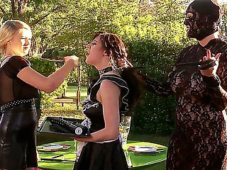 Three BDSM bitches Ruby Rubber, Samantha Bentley and Tegan Jane having impolite lesbian bondman fuck outdoor!