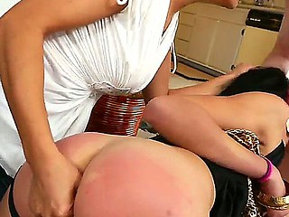 Tigth butt whores Binky Bangs and Francesca have memorable threesome with gorny Le Mark Wood on the floor