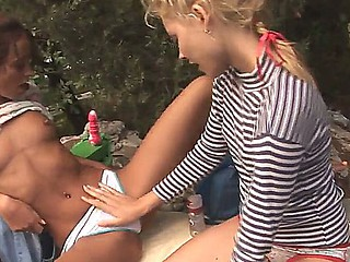 Hawt lesbians Natasha and Vika are willing for a crazy and awesome outdoor action