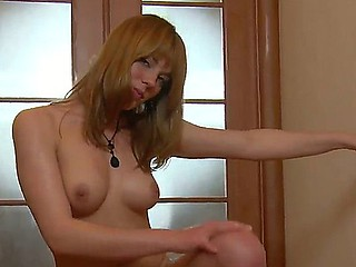 Adorable blonde Suzie is having intensive pleasure masturbating her tight pussy