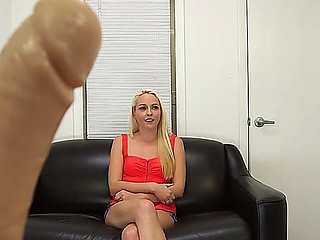 Young golden-haired Ashley Stone discharges her very first solo porn scene right at her very first casting