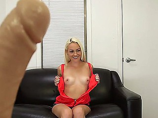 Young golden-haired Ashley Stone discharges her first solo porn scene right at her first casting