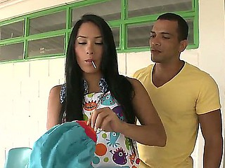 Celeste cooking naughty outdoors! Slender brunette got help from naughty fucker at cooking outdoors and fucked him!