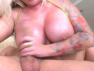 Blonde tattooed babe Angel Ostentatious with beautiful booty loves to penetrate like a unconditioned old bag