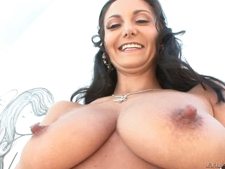 Big breasted Ava Addams shows off the brush assets