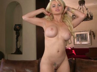 Solo with perfect expansive boobed golden-haired Alexis Pound away at