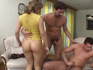 Scalding babes get treated to a double dicking