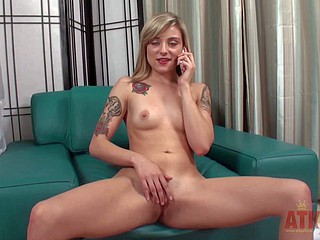 Tattooed teen blonde Ayla Marie with small interior exposes her