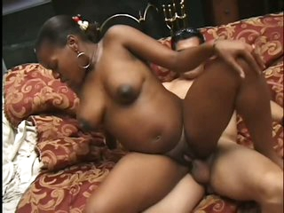 Black Pregnant Babe Taking a Double Facial Cumshot