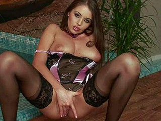 European brunette Zara in tempting underware demonstrate sher juicy natural