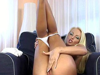 Blond-haired european honey Veronika Symon is here again. This leggy
