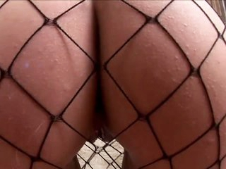 Buxom Fiona in fishnets gets screwed with fingers