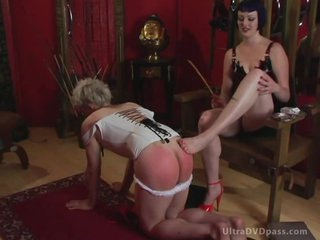 Submissive Male Puts On Leather Lingerie and Gets His Ass Spanked and Whipped