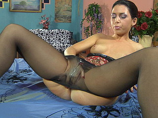 Lickerish felonious brown clad in admirable black tights getting bawdy with her jelly toy