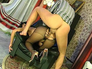 Lusty girl in lacy hose giving footjob previous to maddest booty-ramming