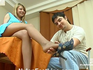 Alice&Adam nylon footfuck action
