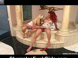 Red hot lady-man and randy chick revealing comfy position for wild fucking