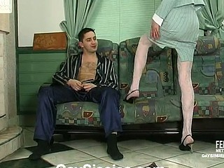 Excited sissy guy in a woman business suit getting his constricted butt packed hard