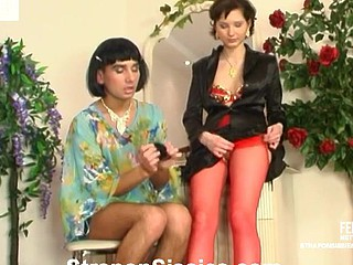 Erotic sissy guy lets a hottie tick his constricted chocolate gap with a probing marital-device