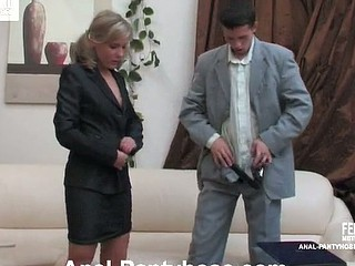 Nasty sec in lacy tights seducing a guy into butt play previous to the interview