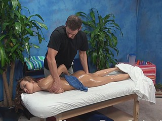 Pretty chick gets intimate massage and then fucked hard